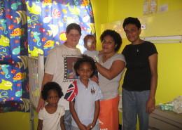 Abby White, Iyowane (16 months), Cecelia (Iyowane's mother), Melaia (Sera's mother), Sera (8) and her sister, Siteri (3).