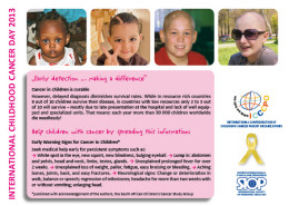 Childhood Cancer Day Awareness Flyer, a partnership of the International Confederation of Childhood Cancer Parent Organisations (ICCCPO) and the International Society of Paediatric Oncology (SIOP).