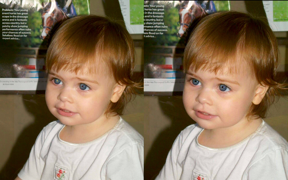 Before and after photos showing white pupil due to retinoblastoma and how photoshop can edit out this early warning sign.