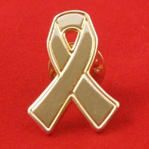 Metal Gold Ribbon Lapel Pin.