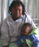 Kenyan mother and child in hospital.