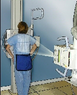 Having a chest x-ray.