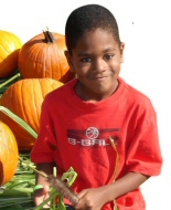 A young survivor enjoys Halloween pumpkins.