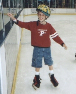 A young survivor on an ice rink.