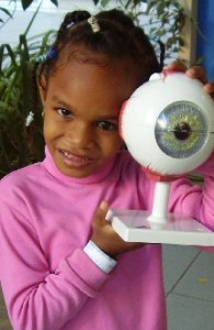 Sera holds up a model eye.