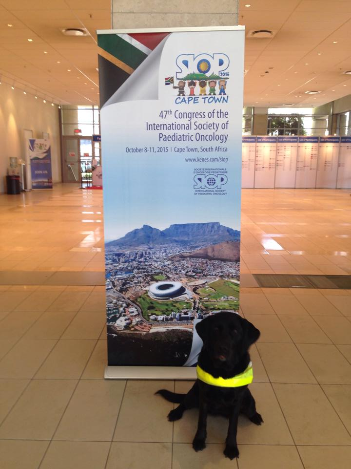 Annie poses next to the congress bannner of the International Society of Paediatric Oncology in Cape Town.