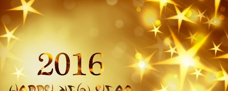 """The message """"Happy New Year 2016"""" written in gold text, laid over a graduated gold background decorated with gold stars."""