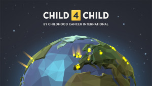 Child4Child by Childhood Cancer International - text above a partial image of a globe covered in glowing lights to show the location of participating chikdren.