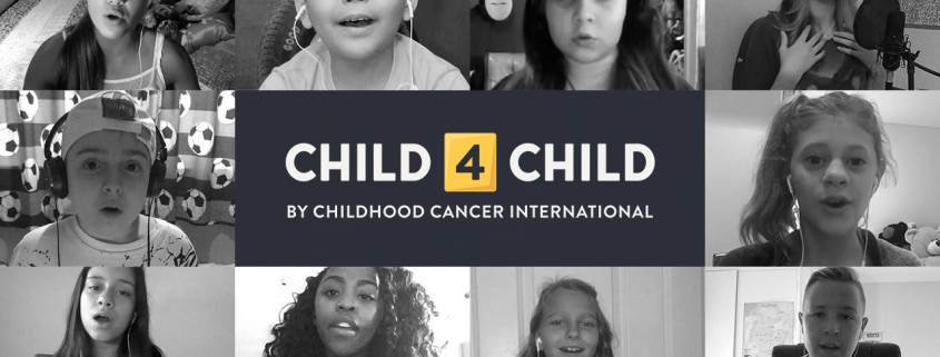 "We Are One artwork: Centre text panel surrounted by B&W images of singing children. Text reads ""Child4Child by Childhood Cancer International"""