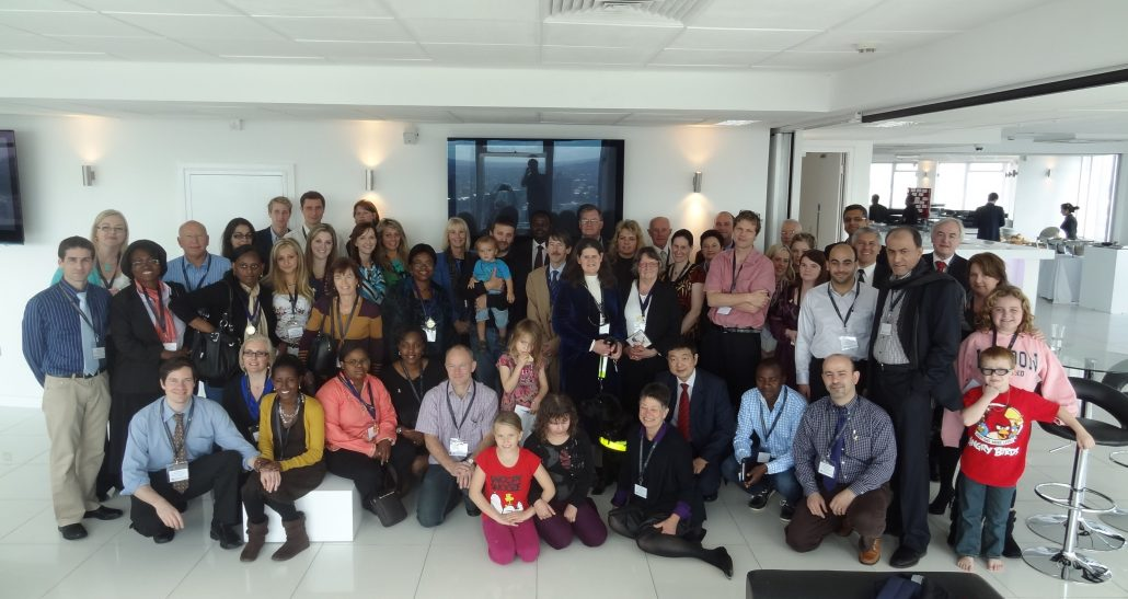Doctors, researchers, paerents, survivors and children attending the first One Rb World meeting in London, 2012.