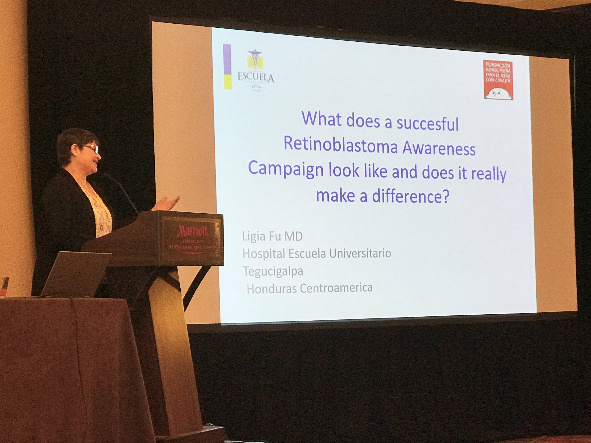 "Ligia Fu presents, the screen behind her showing the words ""what does a successful retinoblastoma awareness campaign look like, and does it make a difference?"""