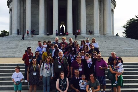 Group photo outside the Jefferson Memorial.