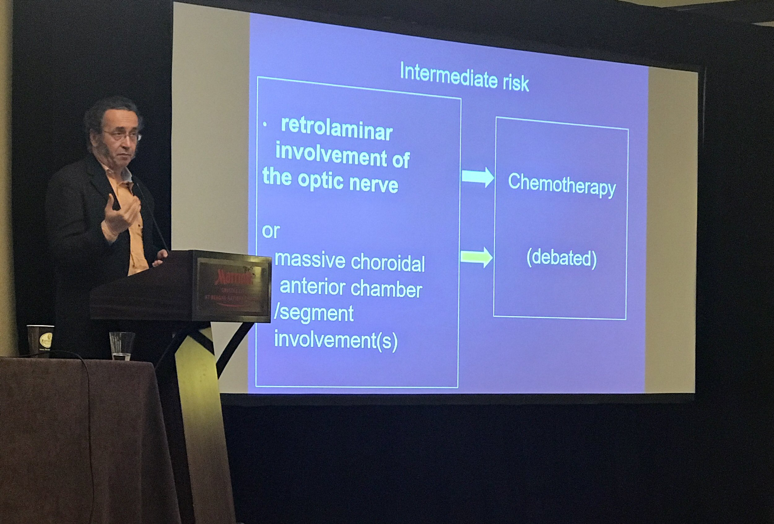 "Francois Doz discusses the debated areas of retinoblastoma pathology. The slide behind him is titled ""Intermediate Risk"" and is divided into four boxes. The two on the left are linked by arrows to the two on the right: ""Retrolaminar involvement of the optic nerve > chemotherapy; Massive choroidal / anterior chamber / segment involvement(s) > debated""."