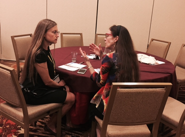 A delegate from Poland seeks retinoblastoma advice from Dr Kate Paton.