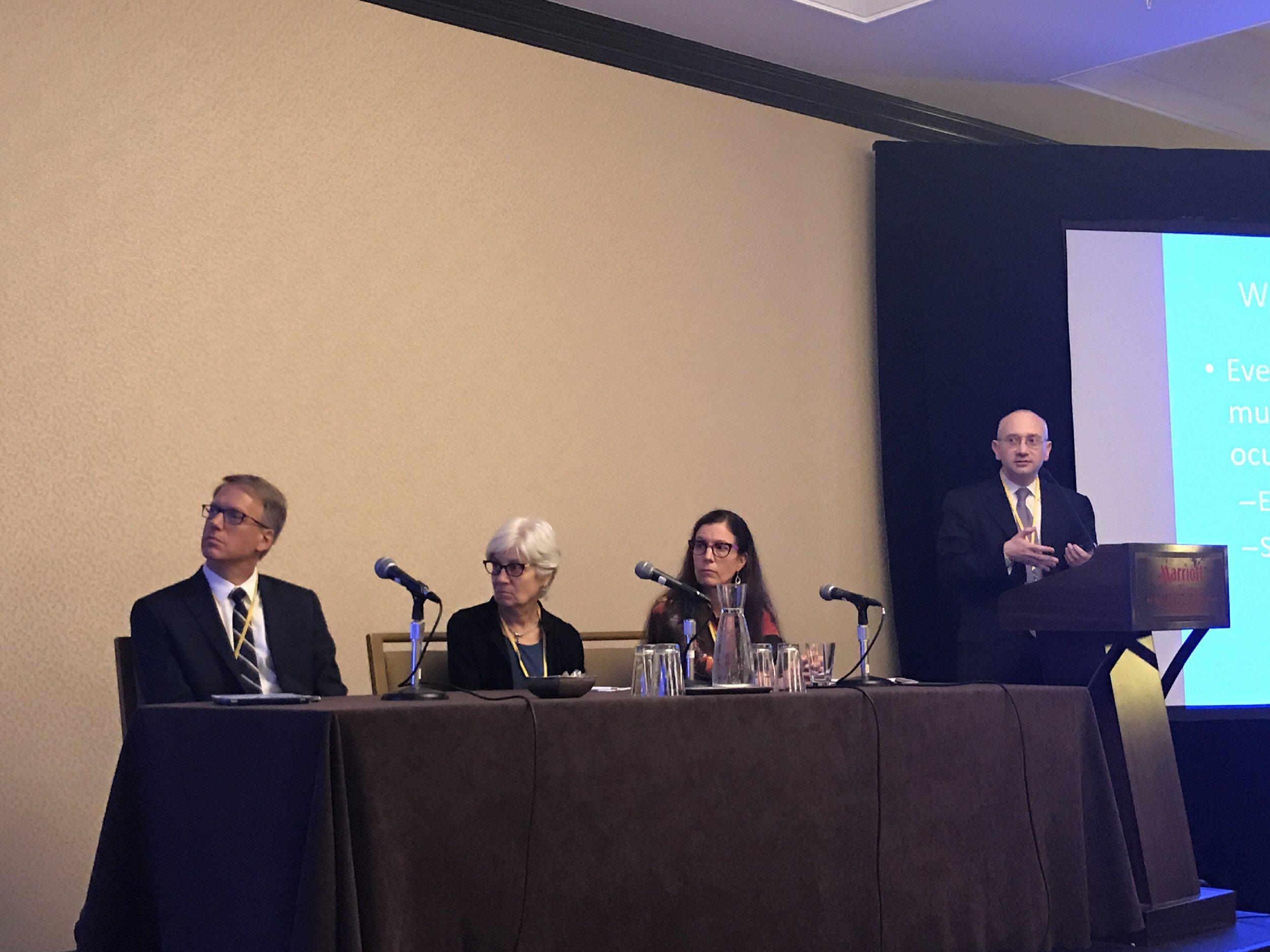 Dan Gombos introduces his Survivorship Panel, David Freyer, Ruth Kleinerman and Katherine Paton.