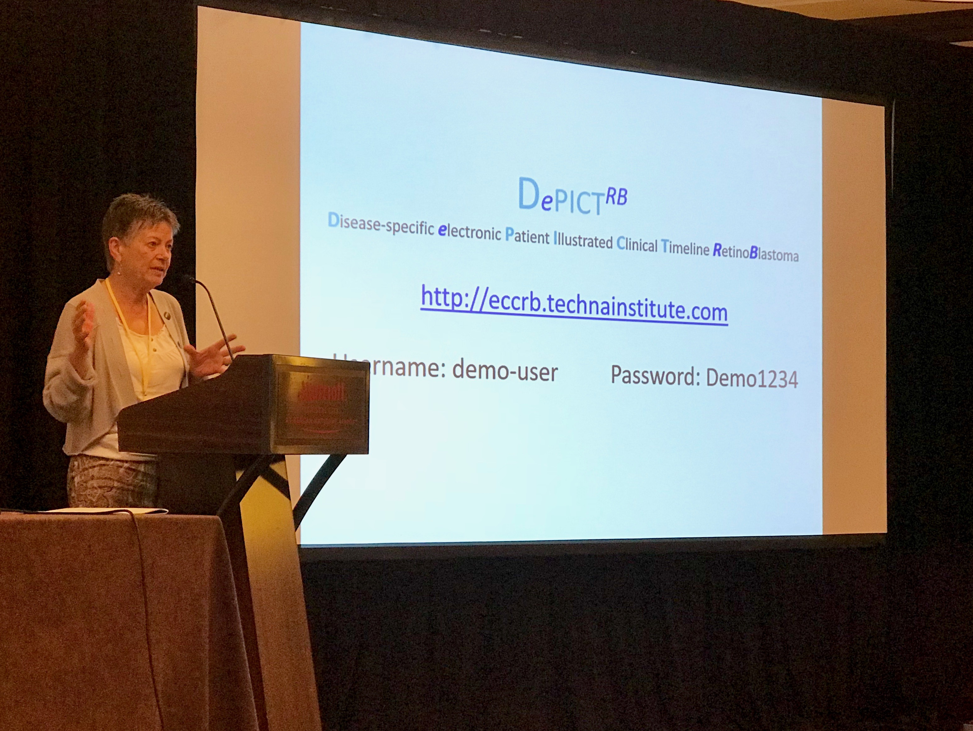 Brenda Gallie presented DePitct, a comprehensive point-of-care management system that allows parents to access their child's complete retinoblastoma medical record alongside the care team.