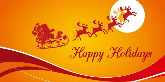 Happy Holidays - red silhouette of Santa on sleigh pulled by reindeer, flying past the moon. Set on gold background – reflecting colours of the WE C Hope logo.