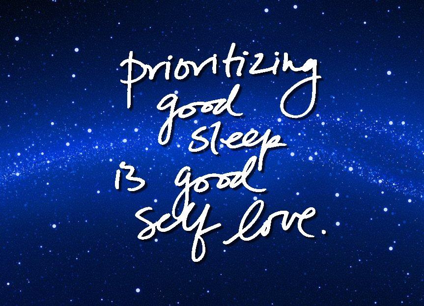 """Prioritizing godd sleep is good self cove."" Qupte against starry indigo sky."