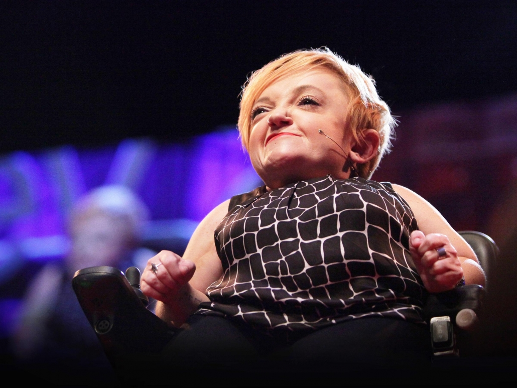 Stella Young speaks from the TED stage.