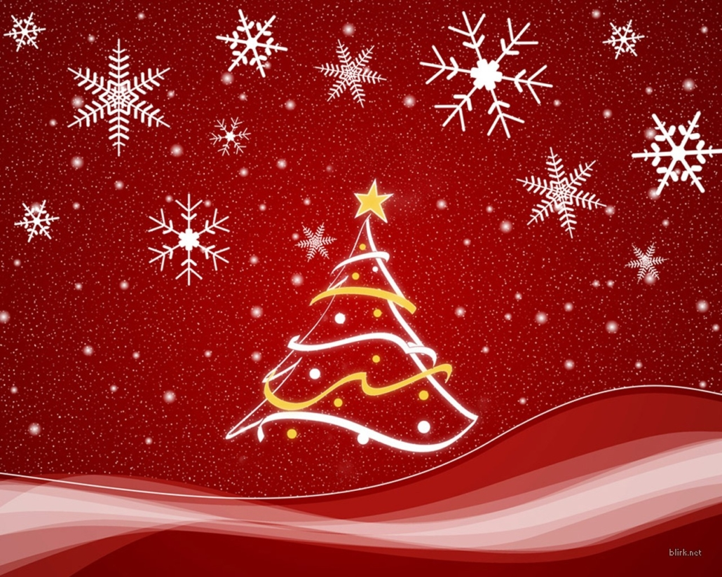 Artistic tree in white and gold ribbon on red background, surrounded by snow and tiny and large snowflakes. Below, a wave of opaque white ribbon flows across the image.