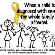 """This image features two pieces of text, above and below an image of a stick family, ranged in order of height from the tall father through mother and various children to the family dog. Above: """"When a child is diagnosed with cancer, the whole family is affected."""" A gold ribbon sits behind the word """"diagnosed"""". Below the family: """"Please support a local family in your community who has a child battling for their life. Bold for gold! Childhood cancer awareness and hope."""""""
