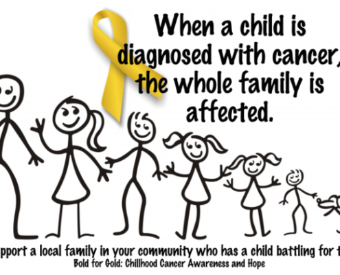 "This image features two pieces of text, above and below an image of a stick family, ranged in order of height from the tall father through mother and various children to the family dog. Above: ""When a child is diagnosed with cancer, the whole family is affected."" A gold ribbon sits behind the word ""diagnosed"". Below the family: ""Please support a local family in your community who has a child battling for their life. Bold for gold! Childhood cancer awareness and hope."""