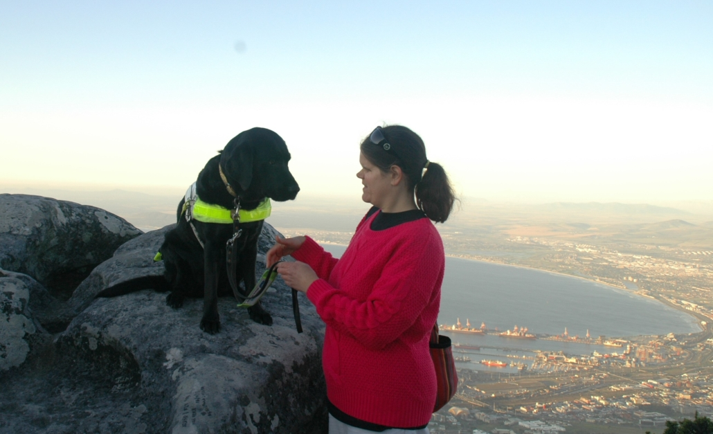 A guide dog sits on a slab of rock, and a woman stands alongside. Far below, a city and seascape is just visible. The dog looks solemn and as though it is listening intently to the woman.