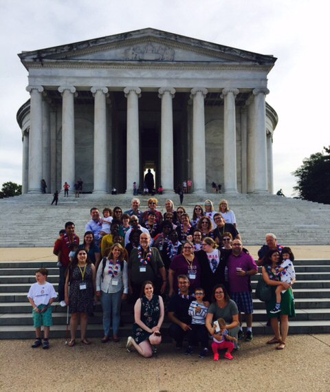 Family Day group photo at the Jefferson Memorial