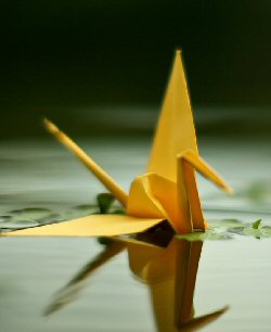 A golden-yellow origami crane floats in clear water, a verdant landscape reflected in the background.
