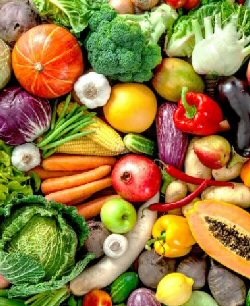 A colourful array of nutritious fruit and vegetables.