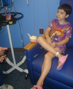 A child receives chemotherapy for retinoblastoma
