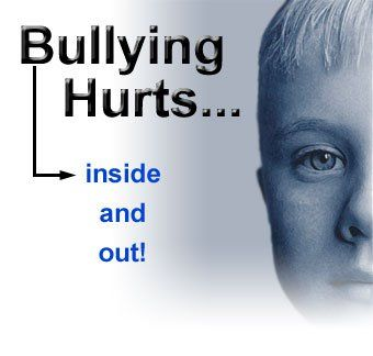 """Text to the left reads """"Bullying Hurts – inside and out"""". Image to the right shows half a person's face in greyscale, fading to white below the lips."""