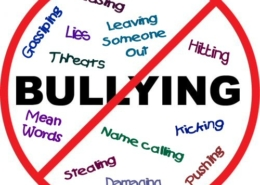 """Image: The word """"bullying"""" is positioned in the middle of a white circle, defined by a red outer line. A diagonal red line runs from top right to bottom left of the circle. Other words are seen in pale colours throughout the white circle. These words are:"""