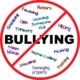 "Image: The word ""bullying"" is positioned in the middle of a white circle, defined by a red outer line. A diagonal red line runs from top right to bottom left of the circle. Other words are seen in pale colours throughout the white circle. These words are:"