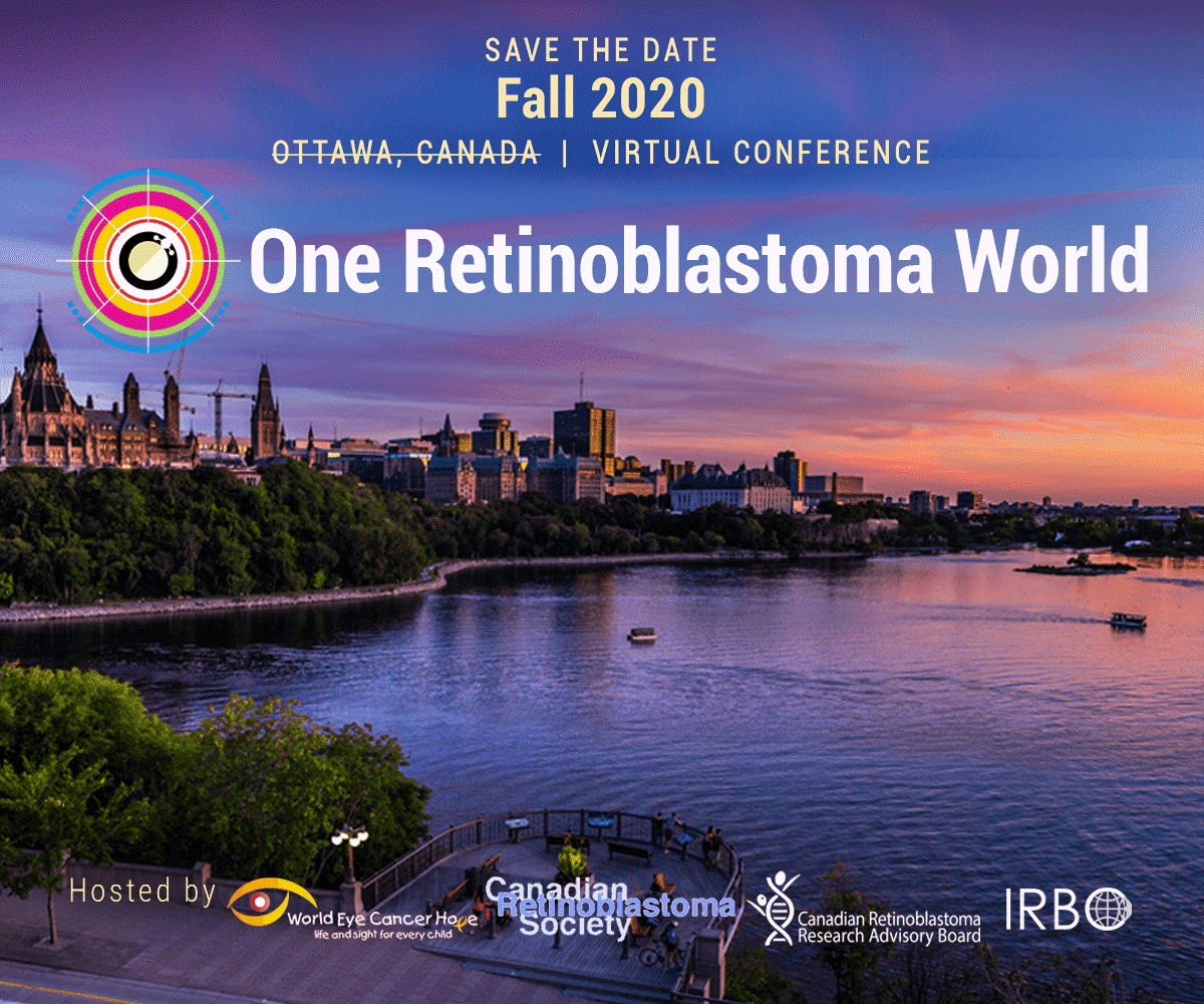 One Rb World 2020 Banner. showing the Ottawa skyline, event name and logo, and host logos