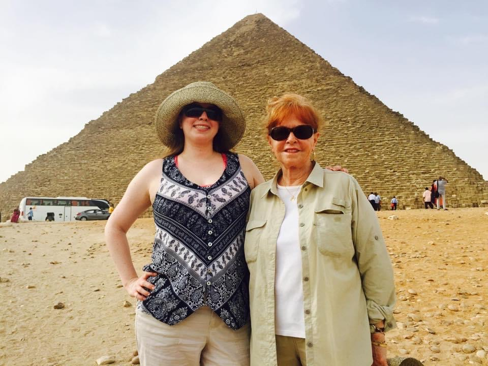 Marissa and her mother, standing in front of an Egyptian pyramid
