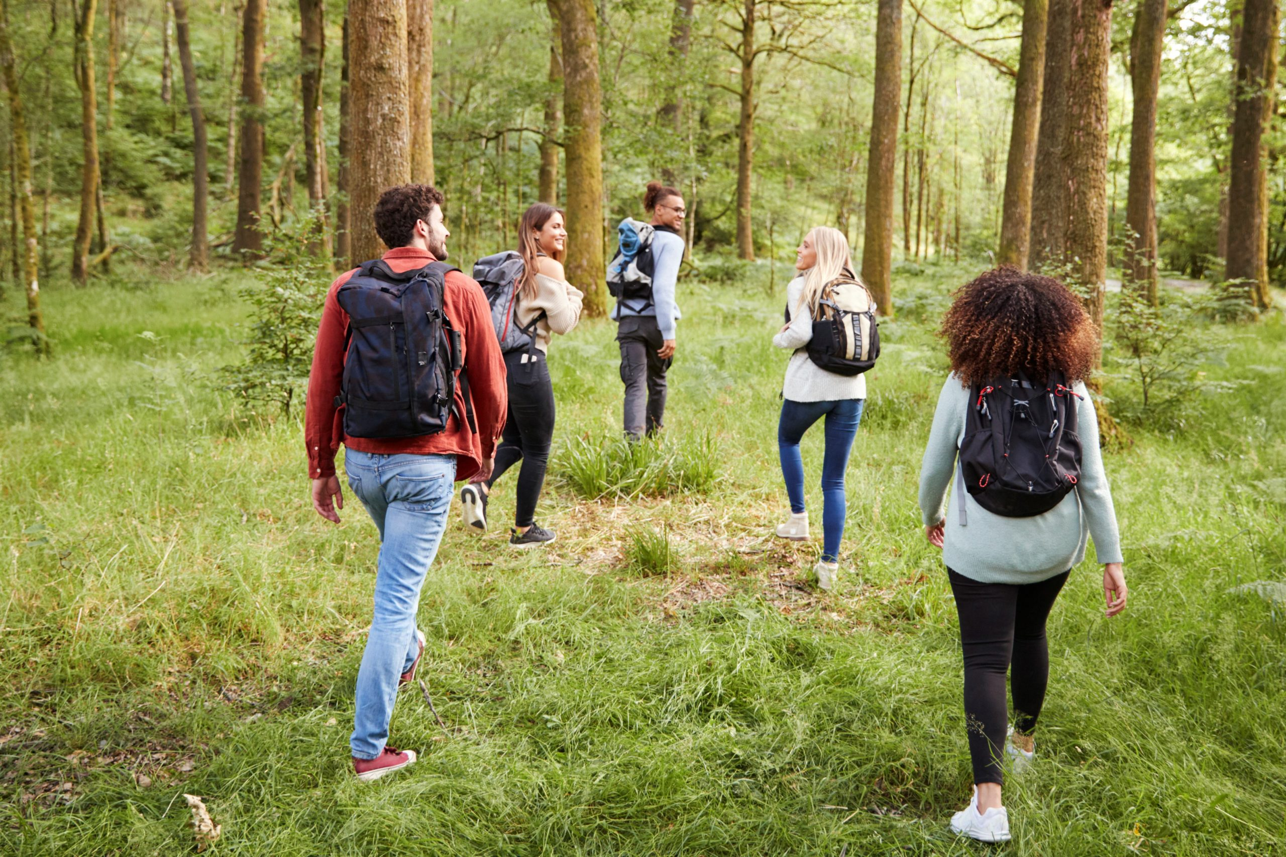 A multicultural group of young people walk together in a loose V shape through a forest, a little distance between each person. They are wearing back packs and looking at one another as they walk away from the camera.