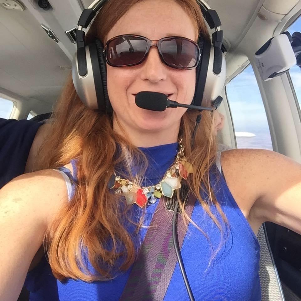 Jule in the cockpit