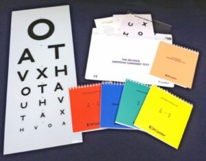 A letter chart and various matching cards