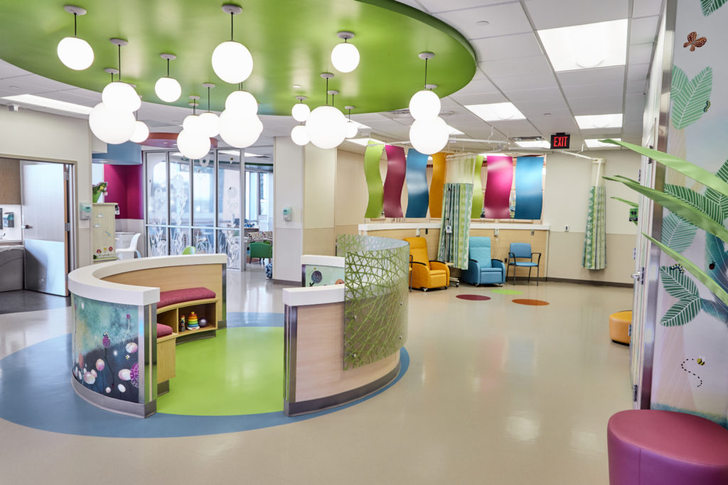 A spacious patient area decorated to evoke an atmosphere of a wonderland garden.