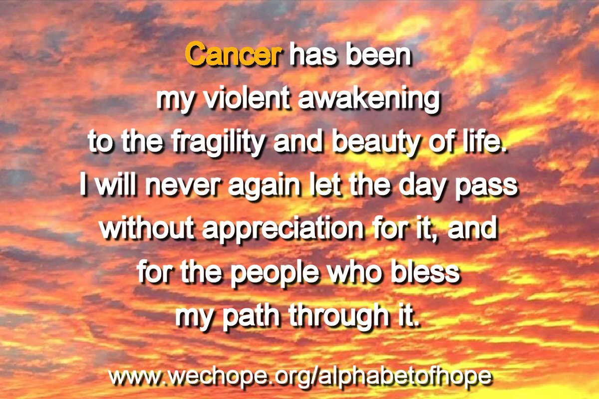 "The background image shows a cloudy sky, radiantly blushed in gold, peach, rose, and purple. The first word of the text is highlighted in gold. Text reads: ""Cancer has been my violent awakening to the fragility and beauty of life, I will never again let the day pass without appreciation for it, and for the people who bless my path through it."""