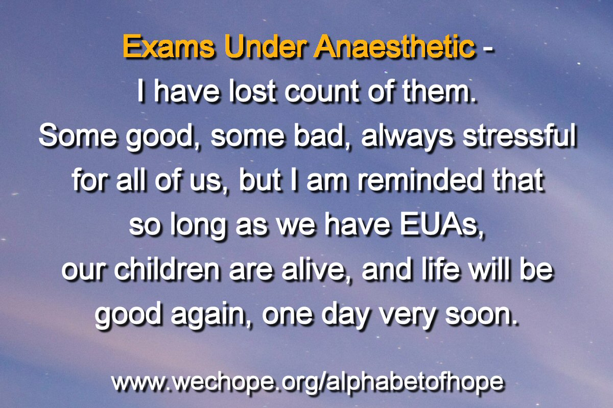"The background image shows a grey marl sky, with just a hint of blue and pink blush. The first word of the text is highlighted in gold. Text reads: ""Exams Under Anaesthetic – I have lost count of them. Some good, some bad, always stressful for all of us, but I am reminded that so long as we have EUAs, our children are alive, and life will be good again one day very soon."""