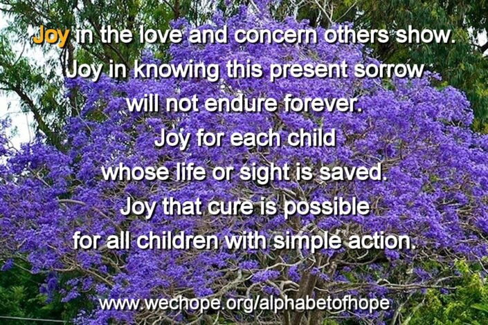 "The background image shows a jacaranda tree in full bloom. The first word of the text is highlighted in gold. Text reads: ""Joy: in the love and concern that others show. Joy in knowing this present sorrow will not endure forever. Joy for each child whose life or sight is saved. Joy that cure is possible for all children with simple action."""