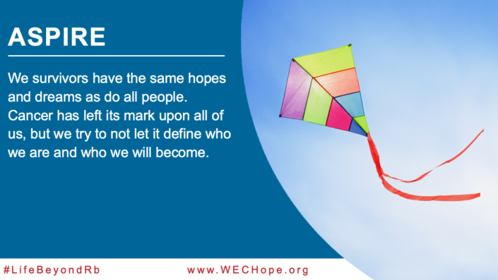 Aspire: We survivors have the same hopes and dreams as do all people. Cancer has left its mark upon all of us, but we try to not let it define who we are and who we will become. Image to the right of the text shows a colourful kite flowing up into a blue sky.