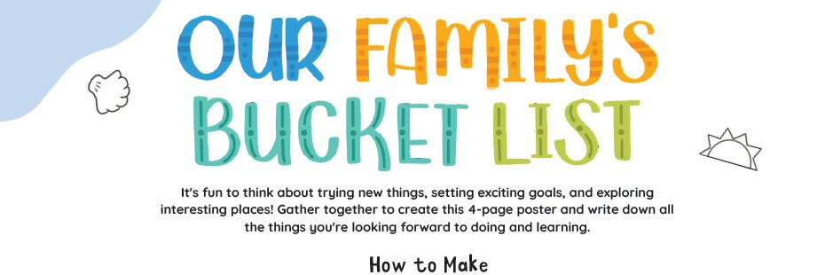 "Header of the front page from the Big Life Journal activity PDF ""Our Family's Bucket List""."
