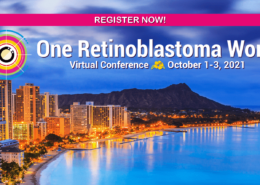 """A pink banner with the words """"register now"""" spans the top of the image. Diamond Head in Honolulu is bathed in light, under a slightly cloudy blue sky. The One Rb World logo includes a yellow flower for Hawaii. Text reads: One Retinoblastoma World 